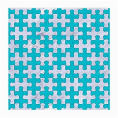 Puzzle1 White Marble & Turquoise Colored Pencil Medium Glasses Cloth (2 Side) by trendistuff
