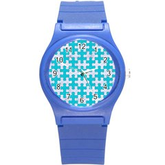Puzzle1 White Marble & Turquoise Colored Pencil Round Plastic Sport Watch (s) by trendistuff