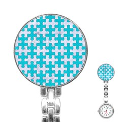Puzzle1 White Marble & Turquoise Colored Pencil Stainless Steel Nurses Watch by trendistuff