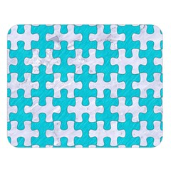 Puzzle1 White Marble & Turquoise Colored Pencil Double Sided Flano Blanket (large)  by trendistuff