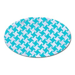 Houndstooth2 White Marble & Turquoise Colored Pencil Oval Magnet by trendistuff