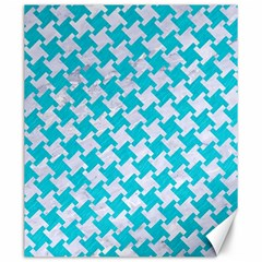 Houndstooth2 White Marble & Turquoise Colored Pencil Canvas 20  X 24   by trendistuff