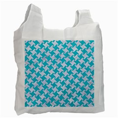 Houndstooth2 White Marble & Turquoise Colored Pencil Recycle Bag (two Side)  by trendistuff