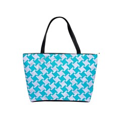 Houndstooth2 White Marble & Turquoise Colored Pencil Shoulder Handbags by trendistuff