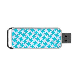 Houndstooth2 White Marble & Turquoise Colored Pencil Portable Usb Flash (two Sides) by trendistuff