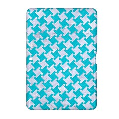 Houndstooth2 White Marble & Turquoise Colored Pencil Samsung Galaxy Tab 2 (10 1 ) P5100 Hardshell Case  by trendistuff