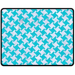Houndstooth2 White Marble & Turquoise Colored Pencil Double Sided Fleece Blanket (medium)  by trendistuff