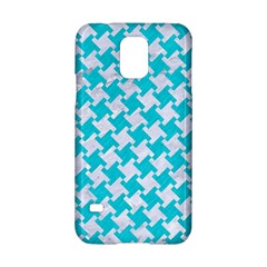 Houndstooth2 White Marble & Turquoise Colored Pencil Samsung Galaxy S5 Hardshell Case  by trendistuff