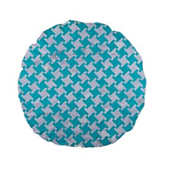 Houndstooth2 White Marble & Turquoise Colored Pencil Standard 15  Premium Flano Round Cushions by trendistuff