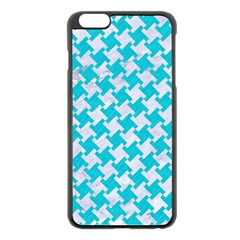 Houndstooth2 White Marble & Turquoise Colored Pencil Apple Iphone 6 Plus/6s Plus Black Enamel Case by trendistuff