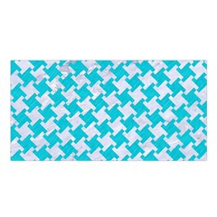 Houndstooth2 White Marble & Turquoise Colored Pencil Satin Shawl by trendistuff
