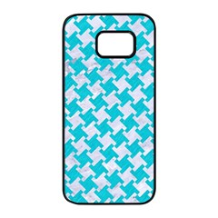 Houndstooth2 White Marble & Turquoise Colored Pencil Samsung Galaxy S7 Edge Black Seamless Case