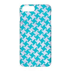 Houndstooth2 White Marble & Turquoise Colored Pencil Apple Iphone 8 Plus Hardshell Case