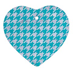Houndstooth1 White Marble & Turquoise Colored Pencil Ornament (heart) by trendistuff