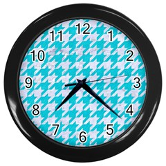 Houndstooth1 White Marble & Turquoise Colored Pencil Wall Clocks (black) by trendistuff