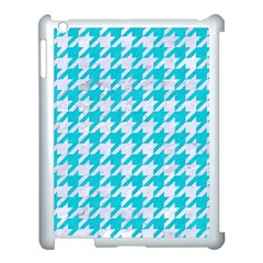 Houndstooth1 White Marble & Turquoise Colored Pencil Apple Ipad 3/4 Case (white) by trendistuff