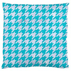 Houndstooth1 White Marble & Turquoise Colored Pencil Standard Flano Cushion Case (one Side) by trendistuff