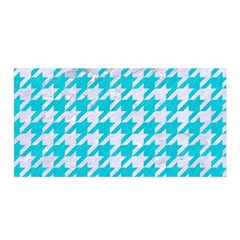 Houndstooth1 White Marble & Turquoise Colored Pencil Satin Wrap by trendistuff