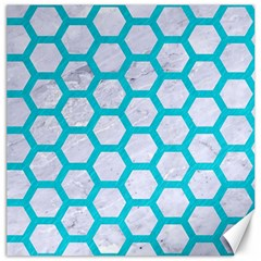 Hexagon2 White Marble & Turquoise Colored Pencil (r) Canvas 12  X 12   by trendistuff
