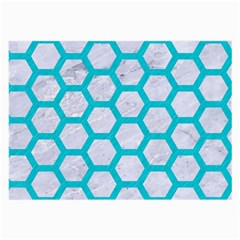Hexagon2 White Marble & Turquoise Colored Pencil (r) Large Glasses Cloth (2 Side) by trendistuff