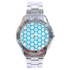 Hexagon2 White Marble & Turquoise Colored Pencil (r) Stainless Steel Analogue Watch by trendistuff