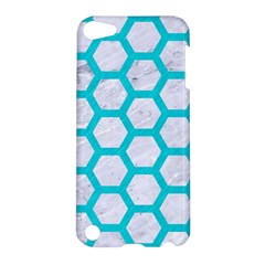 Hexagon2 White Marble & Turquoise Colored Pencil (r) Apple Ipod Touch 5 Hardshell Case by trendistuff