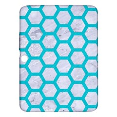 Hexagon2 White Marble & Turquoise Colored Pencil (r) Samsung Galaxy Tab 3 (10 1 ) P5200 Hardshell Case  by trendistuff