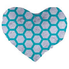 Hexagon2 White Marble & Turquoise Colored Pencil (r) Large 19  Premium Flano Heart Shape Cushions by trendistuff