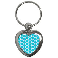 Hexagon2 White Marble & Turquoise Colored Pencil Key Chains (heart)  by trendistuff