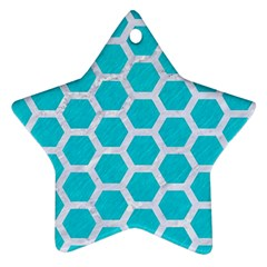 Hexagon2 White Marble & Turquoise Colored Pencil Star Ornament (two Sides) by trendistuff