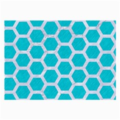 Hexagon2 White Marble & Turquoise Colored Pencil Large Glasses Cloth (2 Side) by trendistuff