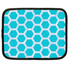 Hexagon2 White Marble & Turquoise Colored Pencil Netbook Case (xxl)  by trendistuff