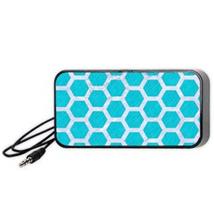 Hexagon2 White Marble & Turquoise Colored Pencil Portable Speaker by trendistuff