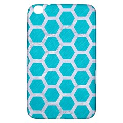 Hexagon2 White Marble & Turquoise Colored Pencil Samsung Galaxy Tab 3 (8 ) T3100 Hardshell Case  by trendistuff
