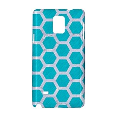 Hexagon2 White Marble & Turquoise Colored Pencil Samsung Galaxy Note 4 Hardshell Case by trendistuff