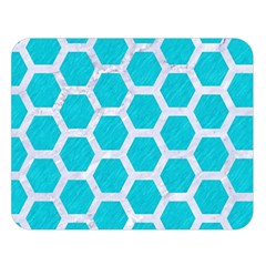 Hexagon2 White Marble & Turquoise Colored Pencil Double Sided Flano Blanket (large)  by trendistuff