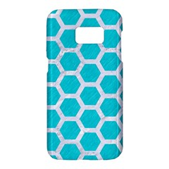 Hexagon2 White Marble & Turquoise Colored Pencil Samsung Galaxy S7 Hardshell Case  by trendistuff