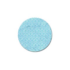 Hexagon1 White Marble & Turquoise Colored Pencil (r) Golf Ball Marker by trendistuff