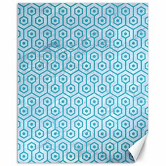 Hexagon1 White Marble & Turquoise Colored Pencil (r) Canvas 16  X 20   by trendistuff