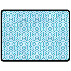 Hexagon1 White Marble & Turquoise Colored Pencil (r) Fleece Blanket (large)  by trendistuff