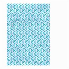 Hexagon1 White Marble & Turquoise Colored Pencil (r) Small Garden Flag (two Sides) by trendistuff