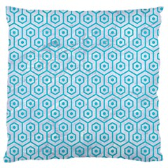Hexagon1 White Marble & Turquoise Colored Pencil (r) Large Cushion Case (two Sides) by trendistuff