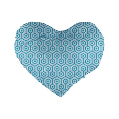 Hexagon1 White Marble & Turquoise Colored Pencil (r) Standard 16  Premium Flano Heart Shape Cushions by trendistuff