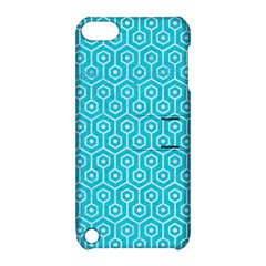 Hexagon1 White Marble & Turquoise Colored Pencil Apple Ipod Touch 5 Hardshell Case With Stand by trendistuff