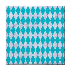 Diamond1 White Marble & Turquoise Colored Pencil Tile Coasters by trendistuff