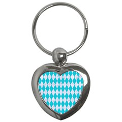 Diamond1 White Marble & Turquoise Colored Pencil Key Chains (heart)  by trendistuff