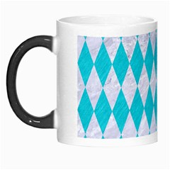 Diamond1 White Marble & Turquoise Colored Pencil Morph Mugs by trendistuff