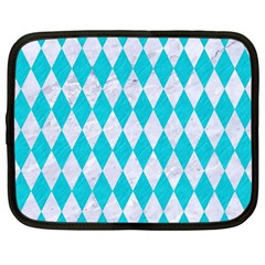 Diamond1 White Marble & Turquoise Colored Pencil Netbook Case (large) by trendistuff