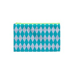 Diamond1 White Marble & Turquoise Colored Pencil Cosmetic Bag (xs) by trendistuff