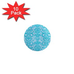 Damask2 White Marble & Turquoise Colored Pencil (r) 1  Mini Magnet (10 Pack)  by trendistuff